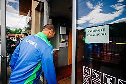 "Sign ""Enter Individually"" seen during meeting after COVID-19 of Slovenian handball national team at dvorana Kodeljevo on May 26th 2020, Ljubljana, Slovenia. Photo by Sinisa Kanizaj / Sportida"