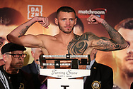 March 8, 2019; Verona, NY, USA; Joe Smith Jr. steps on the scale to weigh in for his bout at the Turning Stone Resort and Casino in Verona, NY.  Mandatory Credit: Ed Mulholland/Matchroom Boxing USA