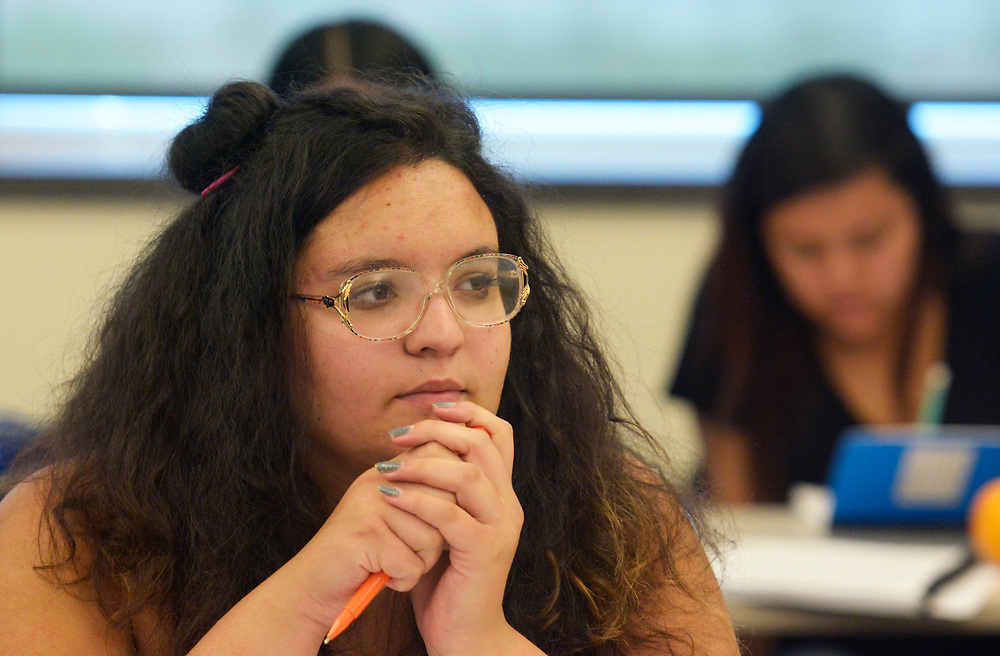 gbs060517i/RIO-WEST -- Alyssa Fontaine, 17, listens during a financial literacy course at Bernalillo High School on Monday, June 5, 2017. Nusenda Credit Union is offing the free summer course for high school credit. (Greg Sorber/Albuquerque Journal)