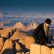 Orthodox priest on summit of Mount Sinai, Mount Sinai, Egypt (December 2007)