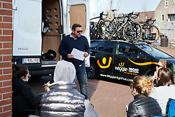 Wiggle High5 team meeting at Healthy Ageing Tour 2018 - Stage 4, a 143 km road race starting and finishing in Winsum on April 7, 2018. Photo by Sean Robinson/Velofocus.com