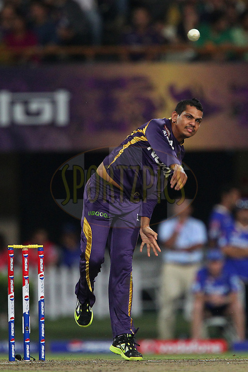 Sunil Narine during match 47 of the Pepsi Indian Premier League between The Kolkata Knight Riders and the Rajasthan Royals held at the Eden Gardens Stadium in Kolkata on the 3rd May 2013..Photo by Ron Gaunt-IPL-SPORTZPICS  ..Use of this image is subject to the terms and conditions as outlined by the BCCI. These terms can be found by following this link:..http://www.sportzpics.co.za/image/I0000SoRagM2cIEc