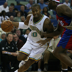 15 April 2008:  New Orleans Hornets forward David West #30 drives past Al Thornton #12 in the first quarter of the Hornets 114-92 win over the Clippers at the New Orleans Arena in New Orleans, Louisiana.