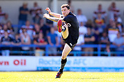 Bradford Bulls stand off Jordan Lilley (28) kicks the penalty into touch during the Kingstone Press Championship match between Rochdale Hornets and Bradford Bulls at Spotland, Rochdale, England on 18 June 2017. Photo by Simon Davies.