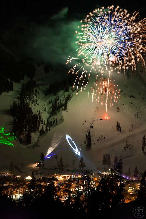 """Fireworks at Squaw Valley 1"" - Photograph of the fireworks show at Squaw Valley Ski Resort during the 2013 North Tahoe SnowFest."