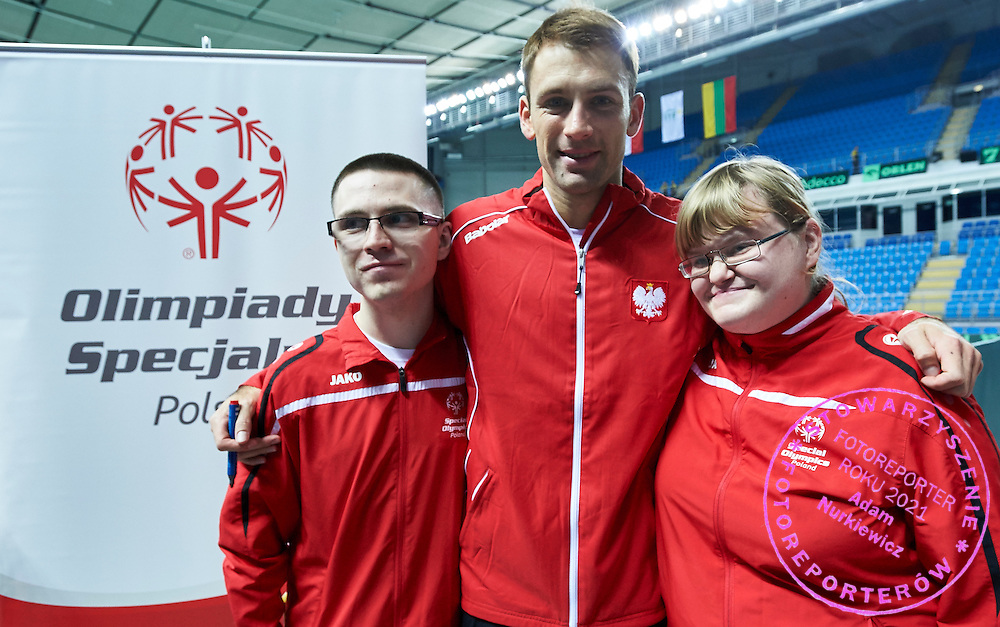(C) Lukasz Kubot of Poland Special with Olympics athletes during second day the Davies Cup / Group I Europe / Africa 1st round tennis match between Poland and Lithuania at Orlen Arena on March 7, 2015 in Plock, Poland<br /> Poland, Plock, March 7, 2015<br /> <br /> Picture also available in RAW (NEF) or TIFF format on special request.<br /> <br /> For editorial use only. Any commercial or promotional use requires permission.<br /> <br /> Mandatory credit:<br /> Photo by &copy; Adam Nurkiewicz / Mediasport
