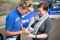 Iris Slappendel (NED) of UnitedHealthcare Cycling Team signs an autograph before the start of the Aviva Women's Tour 2016 - Stage 1. A 138.5 km road race from Southwold to Norwich, UK on June 15th 2016.