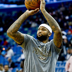 Mar 3, 2017; New Orleans, LA, USA; New Orleans Pelicans forward DeMarcus Cousins during warmups before a game against the San Antonio Spurs at the Smoothie King Center. Mandatory Credit: Derick E. Hingle-USA TODAY Sports