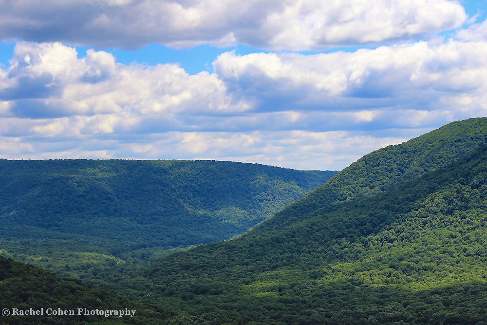 Beautiful Laurel Highlands area of Pennsylvania in summertime! <br /> Green forest, and blue sky with puffy white clouds!