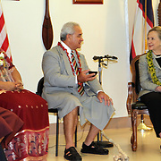 First Lady Maryanne Tulafono watches as her husband, American Samoa Governor Togiola Tulafono, honors US Secretary of State Hillary Clinton during a Kava Ceremony at the Governor's VIP Lounge at the Tafuna International Airport, Tutuila, American Samoa.  11/7/10, 11pm