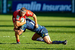 Toulon replacement (#16) Jean-Charles Orioli is tackled by Cardiff Winger (#11) Tom James during the second half of the match - Photo mandatory by-line: Rogan Thomson/JMP - Tel: Mobile: 07966 386802 21/10/2012 - SPORT - RUGBY - Cardiff Arms Park - Cardiff. Cardiff Blues v Toulon (RC Toulonnais) - Heineken Cup Round 2