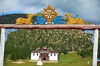 Mongolie, Province du Khentii, monastere de Baldan Bereeven Khiid, construit en 1700 etait un des trois plus grand monastere du pays. // Mongolia, Khentii province, Baldan Bereeven Khiid monastery built in 1700, distroy in 1930 by commusnist and recently rebuilt