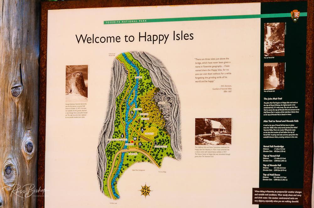 Happy Isles interpretive sign, Yosemite National Park, California USA