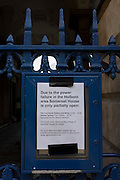 A notice of power outage posted outside Somerset House in the Strand, central London. Partially open, business and access to this venue for the Arts is disrupted because of an electrical fire in a subterranean substation on nearby Kingsway which cause major disruption to local businesses and throughroutes for traffic as flames from ruptured gas pipes vented through pavement and road manholes. Loss of electrical power to local bars and businesses meant the closure of shops and evacuation of offices.