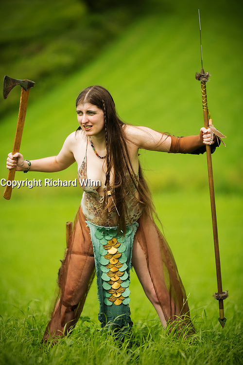 Kalygulina, dressed as a Celtic warrior at the Dragonslayer shoot.