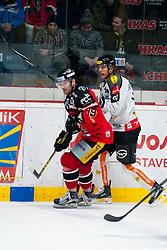 02.01.2016, Ice Rink, Znojmo, CZE, EBEL, HC Orli Znojmo vs Dornbirner Eishockey Club, 39. Runde, im Bild v.l. Roman Tomas (HC Orli Znojmo) Martin Grabher Meier (Dornbirner) // during the Erste Bank Icehockey League 39nd round match between HC Orli Znojmo and Dornbirner Eishockey Club at the Ice Rink in Znojmo, Czech Republic on 2016/01/02. EXPA Pictures © 2016, PhotoCredit: EXPA/ Rostislav Pfeffer
