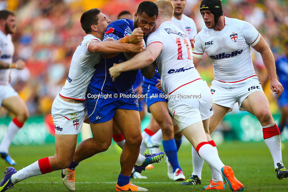 Leeson Ah Mau during the Four Nations test match between England and Samoa at Suncorp Stadium,  Brisbane Australia on October 18, 2014.