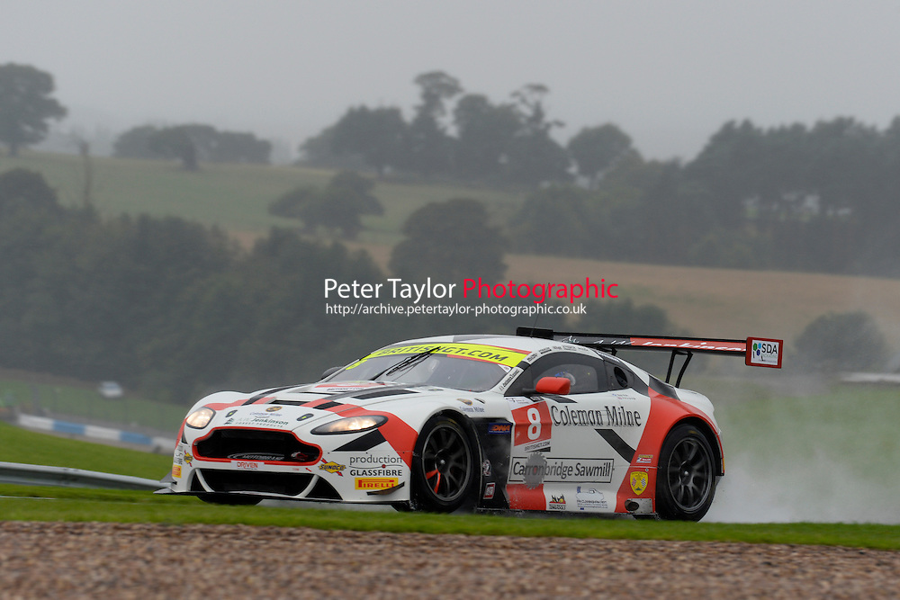 Phil Dryburgh (GBR) / Ross Wylie (GBR)  #8 Motorbase Performance  Aston Martin V12 Vantage GT3  Aston Martin 6.0L V12. British GT Championship at Donington Park, Melbourne, Leicestershire, United Kingdom. September 10 2016. World Copyright Peter Taylor/PSP.