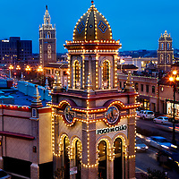 Kansas City's Plaza Lights and traffic on 47th Street on a Saturday evening.