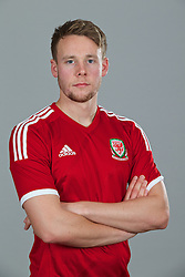 CARDIFF, WALES - Thursday, November 14, 2013: Wales' Chris Gunter wearing the new Wales 2013/2014 Adidas home jersey. (Pic by David Rawcliffe/Propaganda)