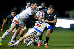 Jamie Shillcock of Worcester Warriors is tackled by Thomas Fortunel of Castres Olympique - Mandatory by-line: Robbie Stephenson/JMP - 17/01/2020 - RUGBY - Sixways Stadium - Worcester, England - Worcester Warriors v Castres Olympique - European Rugby Challenge Cup