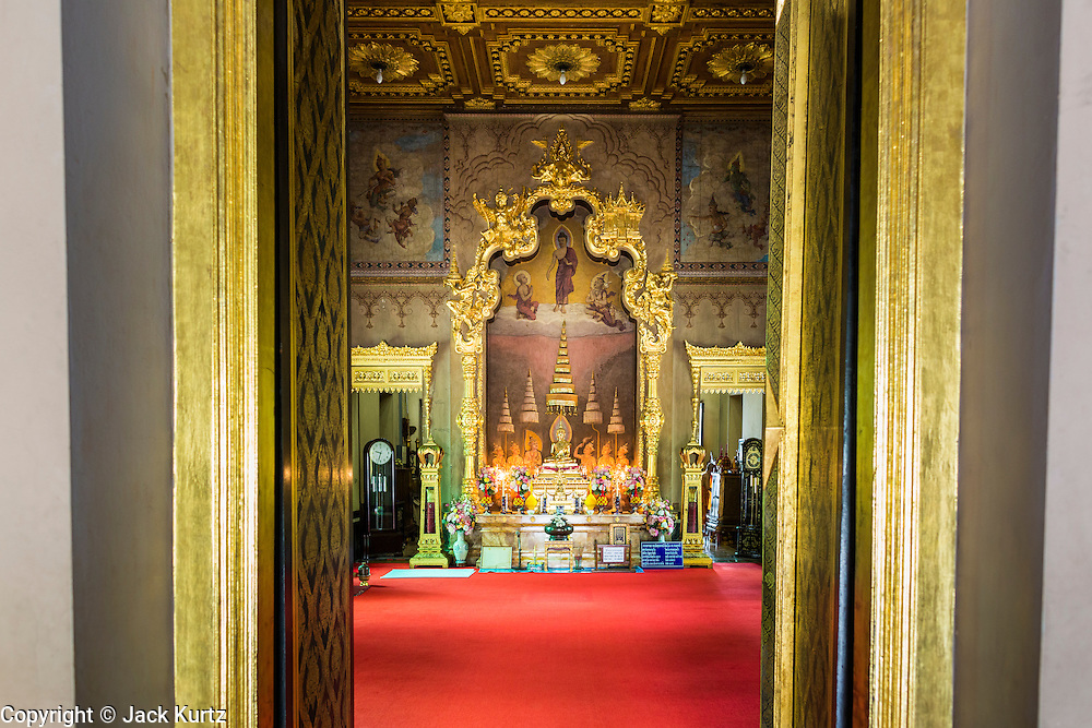 15 JULY 2014 - BANGKOK, THAILAND:    The ubosot or ordination hall at Wat Rachathiwat Ratchaworawihan on Samsen Soi 9. The temple has a large teak instruction hall, considered one of the finest teak buildings in Asia.   PHOTO BY JACK KURTZ