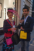 LADY HENRIETTA ROUS; JAY RAJ SISODIA, Vogue's Fashion night out special opening of the Halcyon Gallery.  New Bond St. London. 6 December 2012.