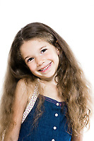 caucasian little girl portrait smiling cheerful isolated studio on white background