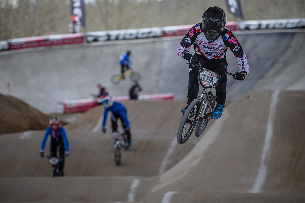 #379 (DEMONTROND Ian) FRA at Round 2 of the 2018 UCI BMX Superscross World Cup in Saint-Quentin-En-Yvelines, France.