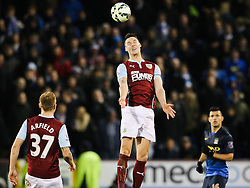 Burnley Captain Jason Shackell wins a header - Photo mandatory by-line: Matt McNulty/JMP - Mobile: 07966 386802 - 14/03/2015 - SPORT - Football - Burnley - Turf Moor - Burnley v Manchester City - Barclays Premier League