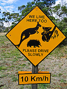 """WE LIVE HERE TOO [kangaroo, koala, and echidna animals]. PLEASE DRIVE SLOWLY 10 Km/h"" is warned on a highway sign in Tasmania, Australia."