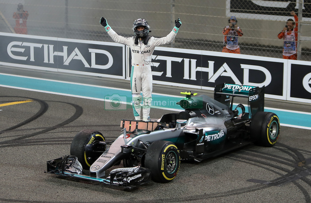 Mercedes' Nico Rosberg celebrates winning the Formula One world championship during the Abu Dhabi Grand Prix at the Yas Marina Circuit, Abu Dhabi.