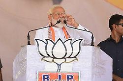 May 1, 2019 - Kaushambhi, Uttar Pradesh, India - Kaushambi: Indian Prime minister and BJP leader Narendra Modi during attend an election campaign public rally at Bharwari in Kaushambi district of Uttar Pradesh on May 01, 2019. (Credit Image: © Prabhat Kumar Verma/ZUMA Wire)