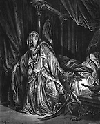 Judith, Jewish heroine, having gained confidence of the Assyrian general Holofernes, cuts off his head and saves the town of Bethulia from capture. Judith 13:10 from Gustave Dore's  illustrated 'Bible' 1866. Wood engraving