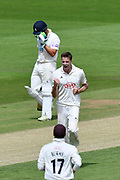 Wicket - Morne Morkel of Surrey celebrates taking the wicket of Lewis McManus of Hampshire during the Specsavers County Champ Div 1 match between Hampshire County Cricket Club and Surrey County Cricket Club at the Ageas Bowl, Southampton, United Kingdom on 11 June 2018. Picture by Graham Hunt.