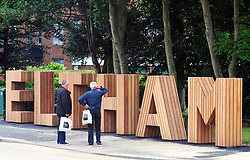 &copy; Licensed to London News Pictures.26/07/2017.Eltham,<br /> UK.<br /> According to Local South East London Newspaper, News Shopper, Greenwich Borough Council have spent &pound;40.000 of Council money on a new six foot high Hollywood style wooden sign at he top of Eltham High Street,Greater London. Local people are not very impressed with the sign with one facebook user calling it a Joke!<br /> Photo credit: Grant Falvey/LNP
