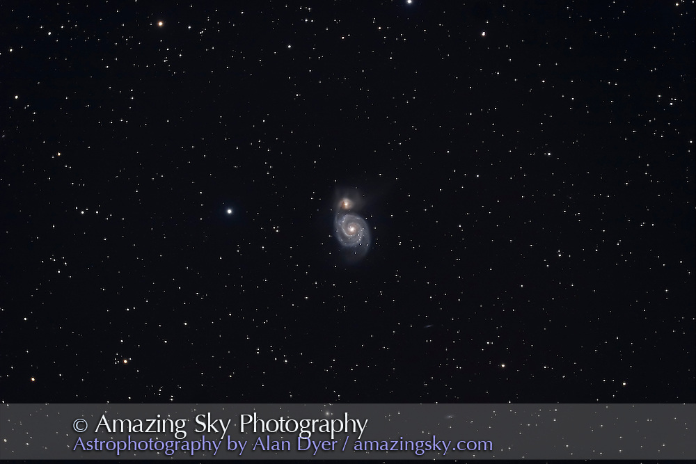 M51, taken April 22, 2006 with 5-inch apo refractor at f/4.5 and Canon 20Da camera at ISO400. Four 10-minute exposures average-stacked.
