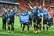 Bournemouth players celebrate winning the Sky Bet Championship title after the Sky Bet Championship match between Charlton Athletic and Bournemouth at The Valley, London, England on 2 May 2015. Photo by David Charbit.