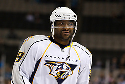 March 8, 2011; San Jose, CA, USA;  Nashville Predators right wing Joel Ward (29) warms up before the game against the San Jose Sharks at HP Pavilion. San Jose defeated Nashville 3-2 in overtime. Mandatory Credit: Jason O. Watson / US PRESSWIRE