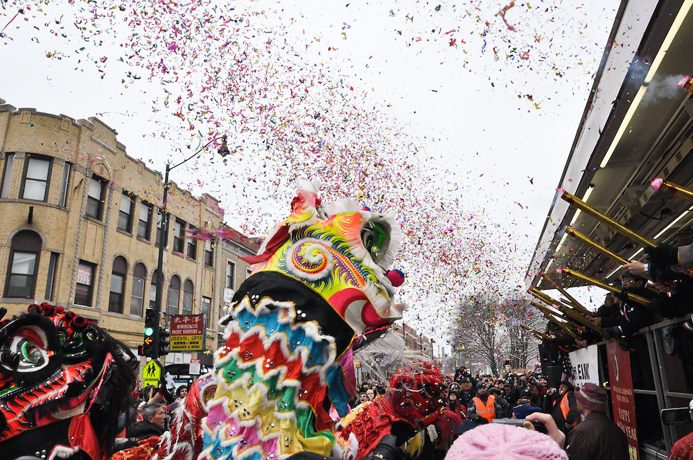 Exploding confetti at the Chinese New Year Parade, Chinatown, Chicago, 2011