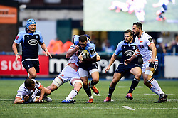 Aled Summerhill of Cardiff Blues is tackled by Fraser McKenzie of Edinburgh Rugby - Mandatory by-line: Ryan Hiscott/JMP - 05/10/2019 - RUGBY - Cardiff Arms Park - Cardiff, Wales - Cardiff Blues v Edinburgh Rugby - Guinness Pro 14