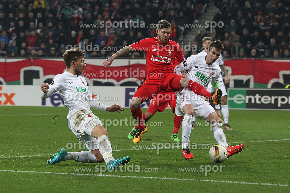 18.02.2016, WWKArena, Augsburg, GER, UEFA EL, FC Augsburg vs FC Liverpool, Sechzehntelfinale, Hinspiel, im Bild Konstantinos Stafylidis ( FC Augsburg ) Alberto Moreno ( FC Liverpool ) Paul Verhaegh ( FC Augsburg ) // during the UEFA Europa League Round of 32, 1st Leg match between FC Augsburg and FC Liverpool at the WWKArena in Augsburg, Germany on 2016/02/18. EXPA Pictures © 2016, PhotoCredit: EXPA/ Eibner-Pressefoto/ Langer<br /> <br /> *****ATTENTION - OUT of GER*****