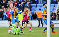 Jon Taylor of Peterborough United scores the winning goal, making the score 3-4 - Mandatory by-line: Joe Dent/JMP - 30/04/2016 - FOOTBALL - New Meadow - Shrewsbury, England - Shrewsbury Town v Peterborough United - Sky Bet League One