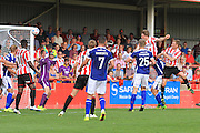 Rob Dickie score the winning goal during the Vanarama National League match between Cheltenham Town and Barrow at Whaddon Road, Cheltenham, England on 22 August 2015. Photo by Antony Thompson.