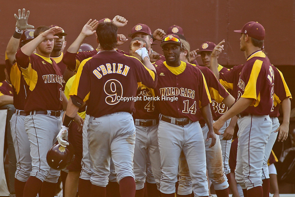 June 03, 2011; Tallahassee, FL, USA; Bethune-Cookman Wildcats catcher Peter O'Brien celebrates with teammates following a homerun during the sixth inning of the Tallahassee regional of the 2011 NCAA baseball tournament against the Florida State Seminoles at Dick Howser Stadium. Mandatory Credit: Derick E. Hingle