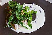 Neufelden, Austria. The gourmet restaurant at Genießerhotel Mühltalhof.<br /> Gegrillte Lachsforelle mit Lavendel, Schwarzer Pfeffer, Grüner Spargel (Salmon Trout with Lavender, Black Pepper, Green Asparagus).