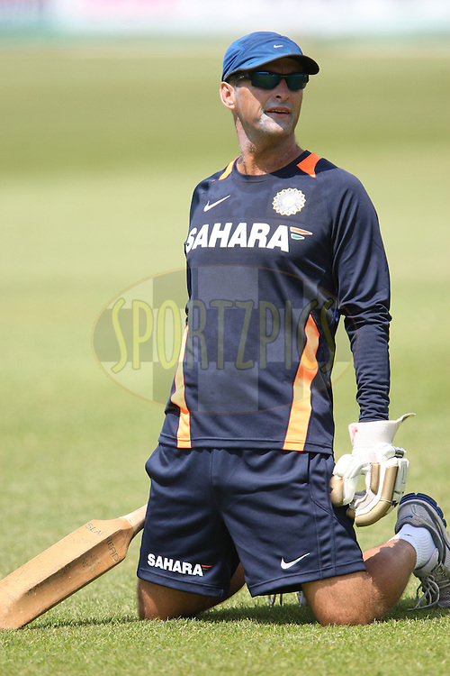 India cricket coach Gary Kirsten during the South Africa and India team practice sessions held at Kingsmead Stadium in Durban on Christmas eve, 24th December.  ( The second test match between South Africa and India is due to start on 26th December 2010 at Kingsmead )..Photo by Steve Haag/BCCI/SPORTZPICS