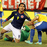 Radamel Falcao, Colombia, in action during the Brazil V Colombia International friendly football match at MetLife Stadium, New Jersey. USA. 14th November 2012. Photo Tim Clayton