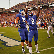 Sept. 11, 2010 - Lexington, Kentucky, USA -  UK's CHRIS MATTHEWS (#8) celebrates his touchdown reception in the first half as the University of Kentucky played Western Kentucky University at Commonwealth Stadium. Kentucky won the game, 63-28. (Credit image: © David Stephenson/ZUMA Press)