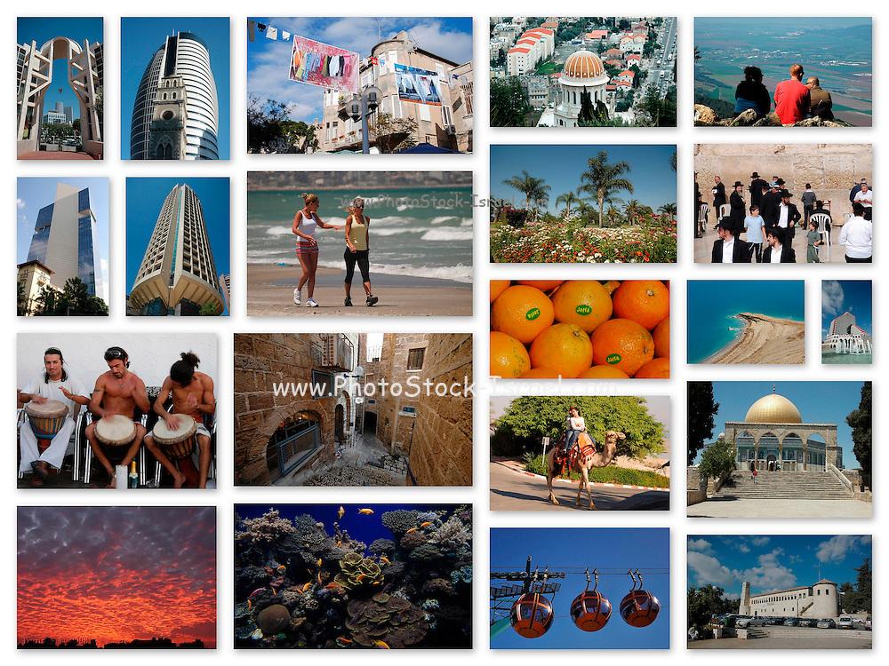 A 15 image collage of Israeli landmarks